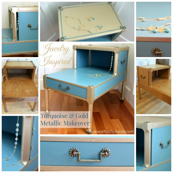 Turquoise & Gold Metallic Side Table - Before and After - Chalk Paint - artsychicksrule.com #metallic #furniture #makeover #chalkpaint