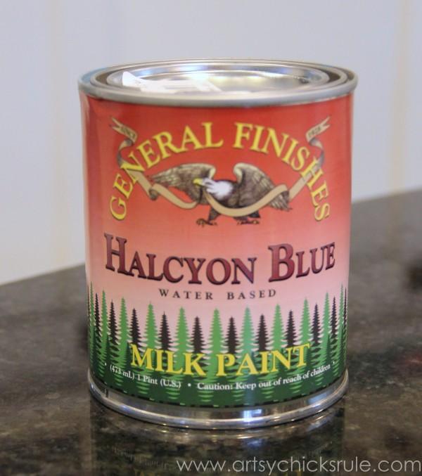 Grain Sack Table Makeover - General Finishes Milk Paint - #chalkpaint #milkpaint #grainsack - artsychicksrule.com