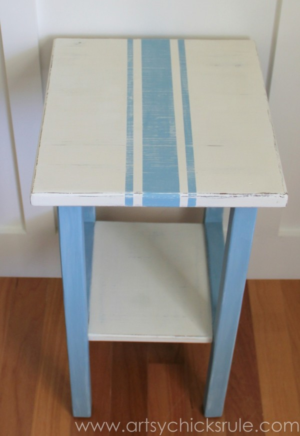 Grain Sack Table Makeover - Top Done - #chalkpaint #milkpaint #grainsack - artsychicksrule.com
