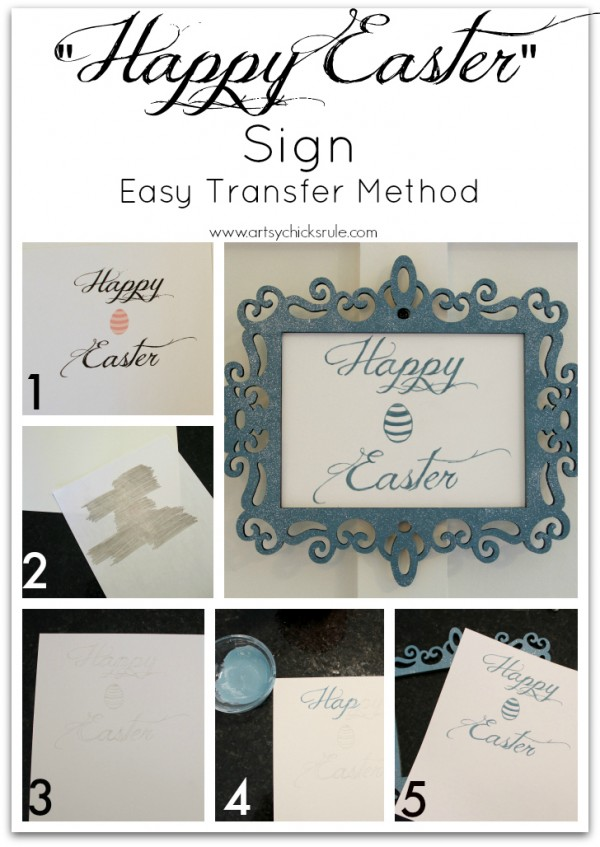 Happy Easter Sign - DIY- artsychicksrule.com #chalkpaint #graphics #diy #easter