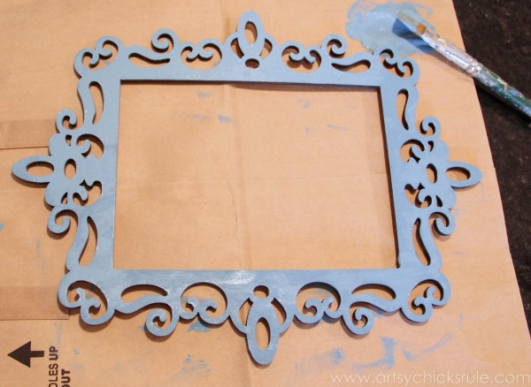 Happy Easter Wreath -Chalk Paint Frame - artsychicksrule.com #easter #wreath