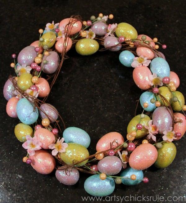 Happy Easter Wreath - Finished Wreath - artsychicksrule.com #easter #wreath