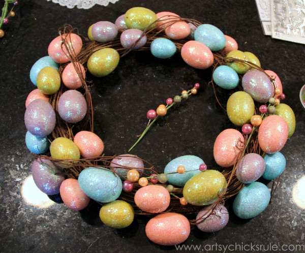 Happy Easter Wreath -Making a Plain Wreath Better - artsychicksrule.com #easter #wreath