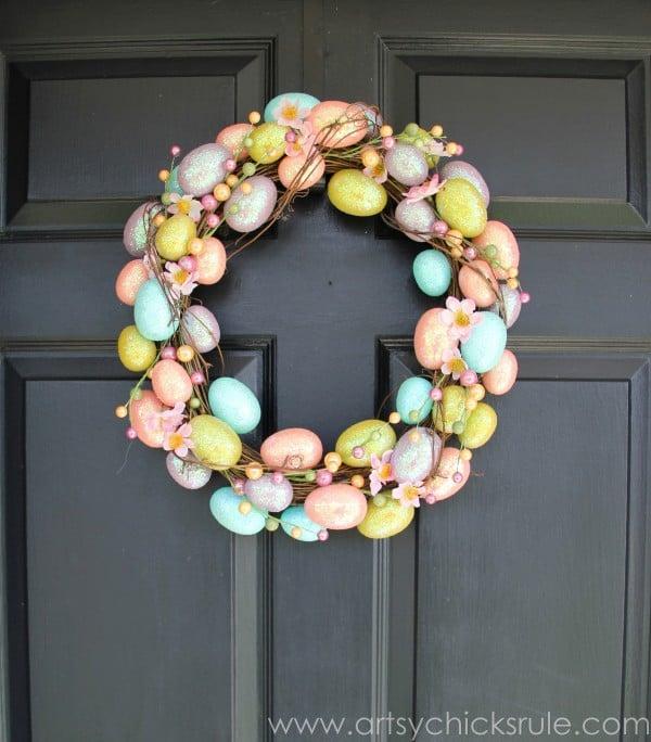 Happy Easter Wreath -On Front Door- artsychicksrule.com #easter #wreath