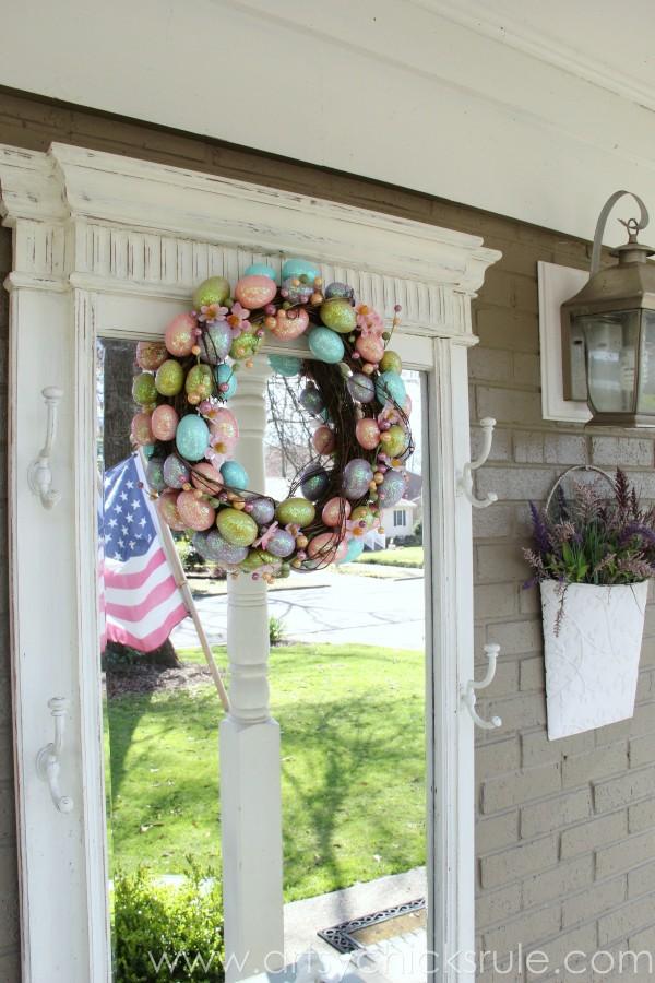 Happy Easter Wreath -On Hall Tree - artsychicksrule.com #easter #wreath