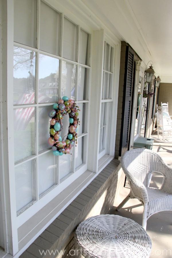 Happy Easter Wreath -On Porch Window - artsychicksrule.com #easter #wreath