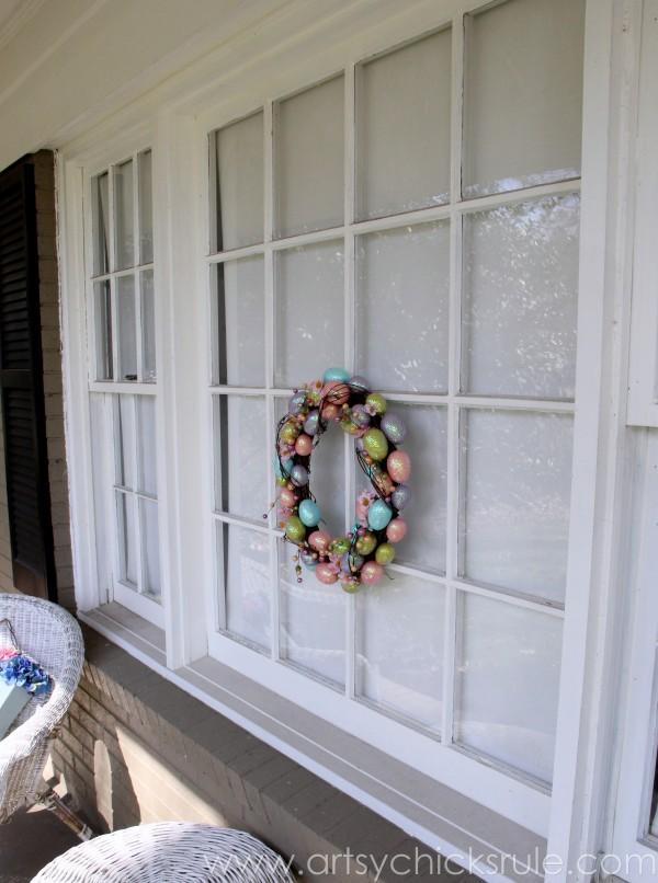 Happy Easter Wreath -On Window - artsychicksrule.com #easter #wreath