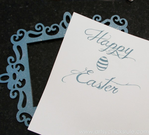 Happy Easter Wreath -Painted Graphics Finished - artsychicksrule.com #easter #wreath