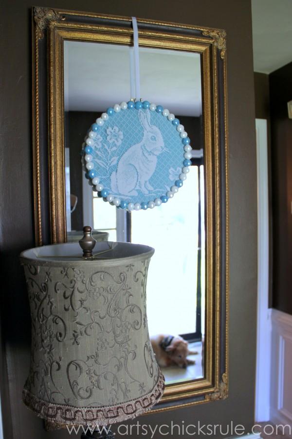 Happy Easter Wreath -Thrifty Find turned Easter Decoration - artsychicksrule.com #easter #wreath
