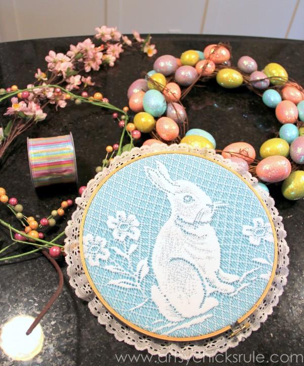 Happy Easter Wreath -Thrifty - artsychicksrule.com #easter #wreath