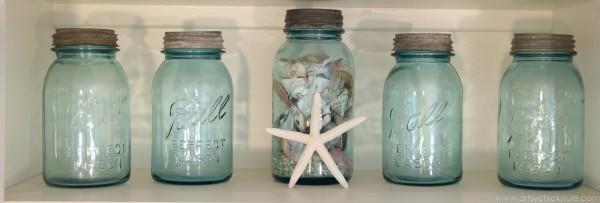 My Favorite Things - Blue Ball Mason Jars - artsychicksrule.com #coastal #bluemasonjars #thrifty #homedecor #budgetdecorating