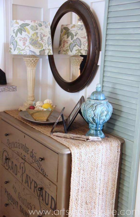 My Favorite Things - Lamp Shade, Chalk Painted Dresser w Graphics, Blue Vase, Shutters - artsychicksrule.com #thrifty #homedecor #budgetdecorating