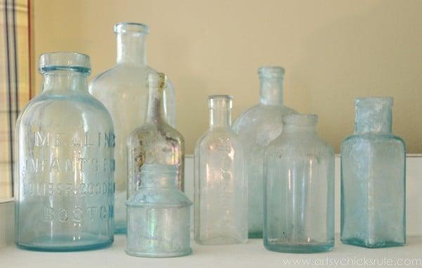 My Favorite Things - Old Bottles - artsychicksrule.com #thrifty #homedecor #budgetdecorating #oldbottles