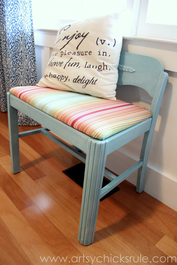 Sitting Chair Makeover with Provence Chalk Paint - fabric inspired projects - artsychicksrule.com #chalkpaint #homedecor #provence