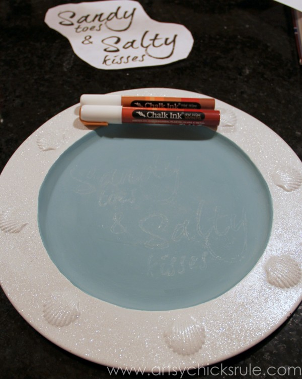 Thrift Store Tray to Coastal Chalk Art - Painting in with Chalk Pens - artsychicksrule.com #chalkpaint #chalkart #sign #coastal