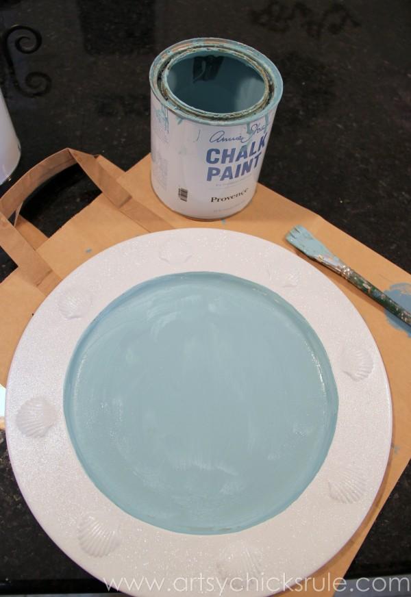 Thrift Store Tray to Coastal Chalk Art - Provence Chalk Paint - artsychicksrule.com #chalkpaint #chalkart #sign #coastal