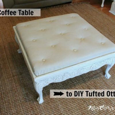Thrift Store Coffee Table -turned- DIY Tufted Ottoman