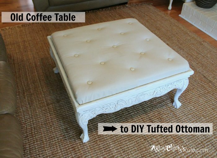Incroyable Thrift Store Coffee Table  Turned  DIY Tufted Ottoman   Artsy Chicks Rule®