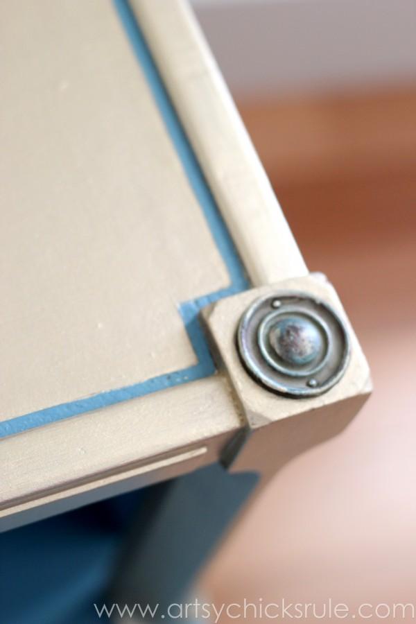Turquoise Chalk Paint & Gold Metallic Makeover - Hardware - artsychicksrule.com #chalkpaint #turquoise #gold #metallic