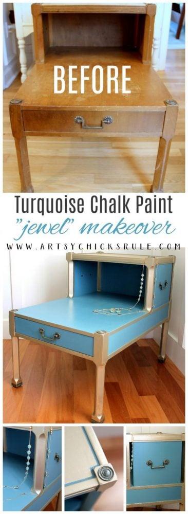 "Turquoise Chalk Paint ""Jewel"" makeover artsychicksrule.com"