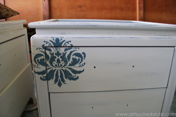 Aubusson Blue Stenciled Thrift Store Night Stand Makeover {Chalk Paint} - Applying Stencil - artsychicksrule.com #chalkpaint #aubussonblue #stencil #nightstands