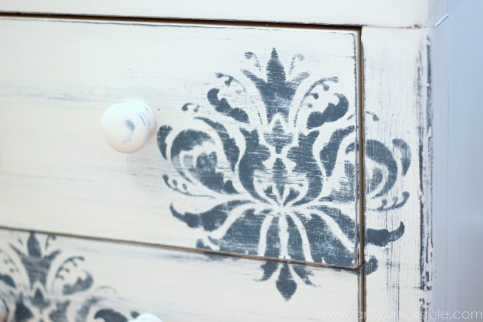 Aubusson Blue Stenciled Thrift Store Night Stand Makeover {Chalk Paint} - Stencil pattern - artsychicksrule.com #chalkpaint #aubussonblue #stencil #nightstands