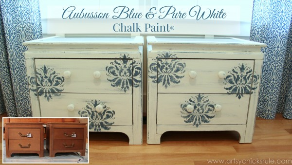 Aubusson Blue Stenciled Thrift Store Night Stand Makeover {Chalk Paint} - after front1 - artsychicksrule.com #chalkpaint #aubussonblue #stencil #nightstands -