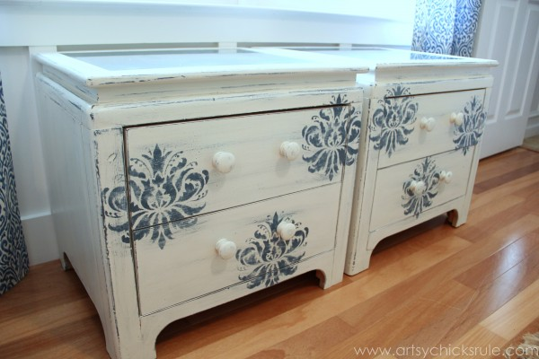 Aubusson Blue Stenciled Thrift Store Night Stand Makeover {Chalk Paint} - after side view - artsychicksrule.com #chalkpaint #aubussonblue #stencil #nightstands