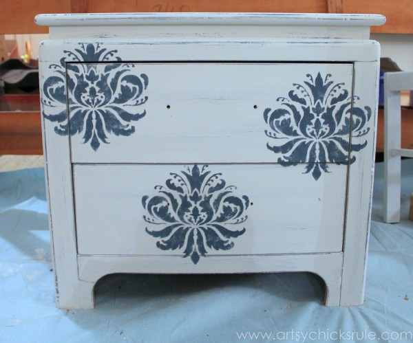 Aubusson Blue Stenciled Thrift Store Night Stand Makeover {Chalk Paint} - before sanding - artsychicksrule.com #chalkpaint #aubussonblue #stencil #nightstands