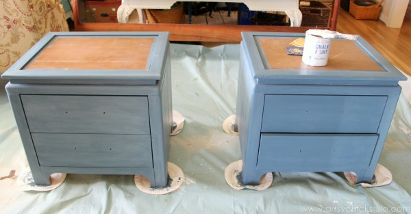 Aubusson Blue Stenciled Thrift Store Night Stand Makeover {Chalk Paint} - with Duck Egg tinted wax - artsychicksrule.com #chalkpaint #aubussonblue #stencil #nightstands