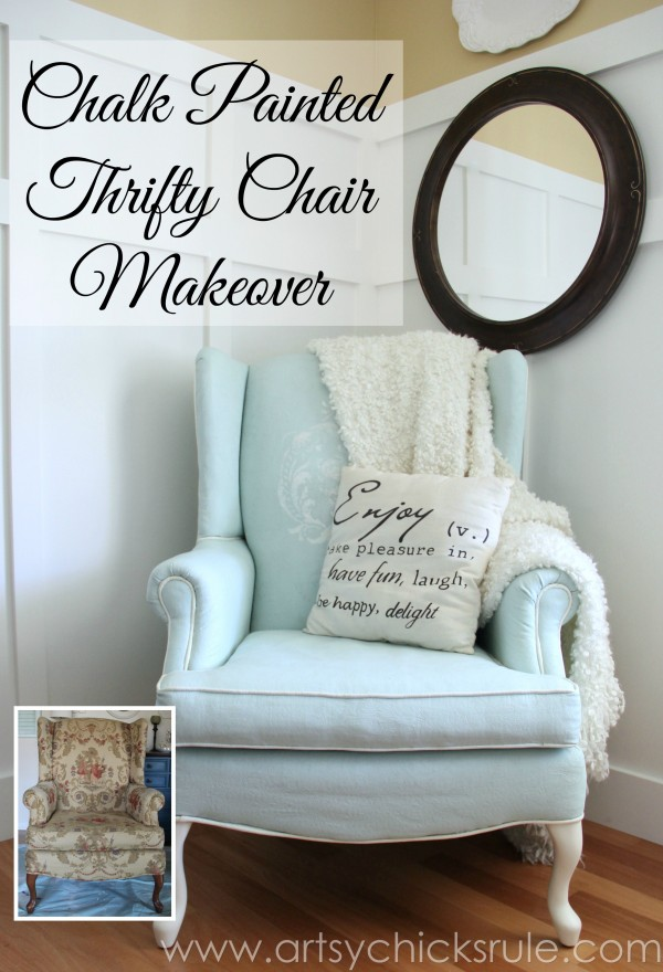 Chalk Painted Upholstered Chair artsychicksrule.comSO Easy! Don't love it? Paint it with Annie Sloan Chalk Paint! artsychicksrule.com #paintedupholstery #chalkpaint #paintingupholstery #paintedfabric