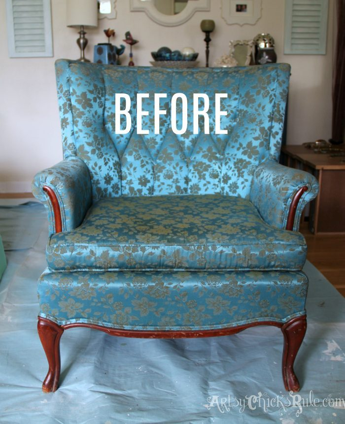 Chair Makeover with Chalk Paint BEFORE artsychicksrule.com #paintedupholstery #chalkpaint #paintingupholstery