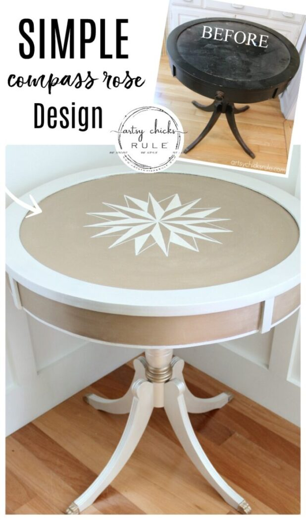 Modern Masters Metallic Paint Makeover - Compass Rose Table - before and after - #howtodrawcompassrose artsychicksrule.com #metallicpaint #furniture #compassrose #nauticalstyle #coastaldecor #paintedfurniture