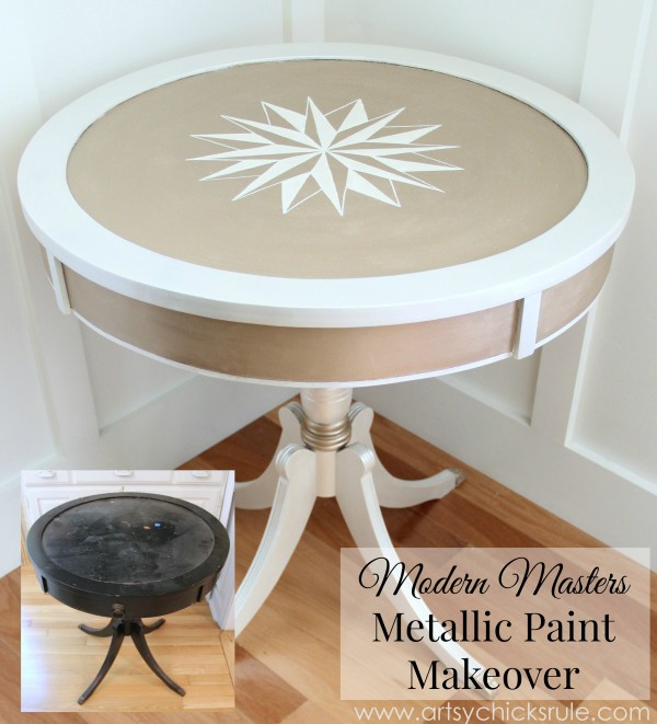 Modern Masters Metallic Paint Makeover - Compass Rose Table - B-A Finished - artsychicksrule.com #metallicpaint #furniture #compassrose #nautical #coastal