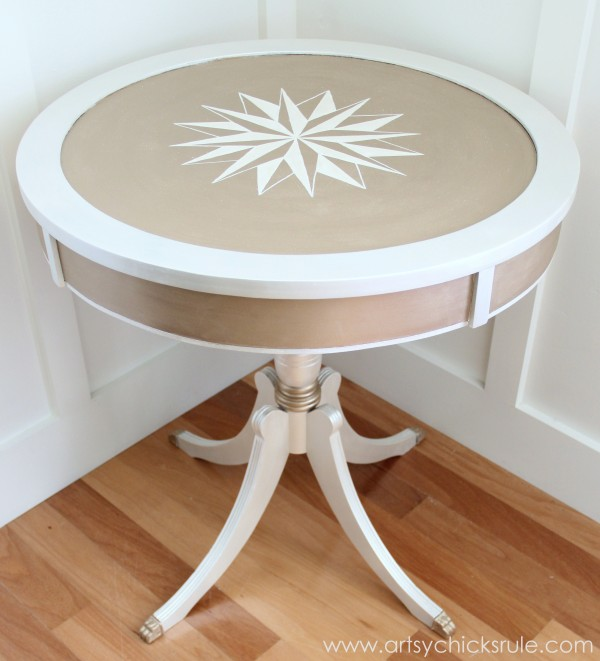 Modern Masters Metallic Paint Makeover - Compass Rose Table - Finished - artsychicksrule.com #metallicpaint #furniture #compassrose #nautical #coastal