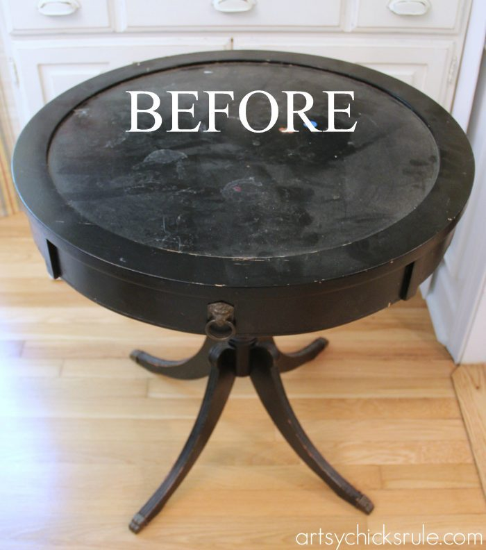 Modern Masters Metallic Paint Makeover - Compass Rose Table - before and after - artsychicksrule.com #metallicpaint #furniture #compassrose #nautical #coastal