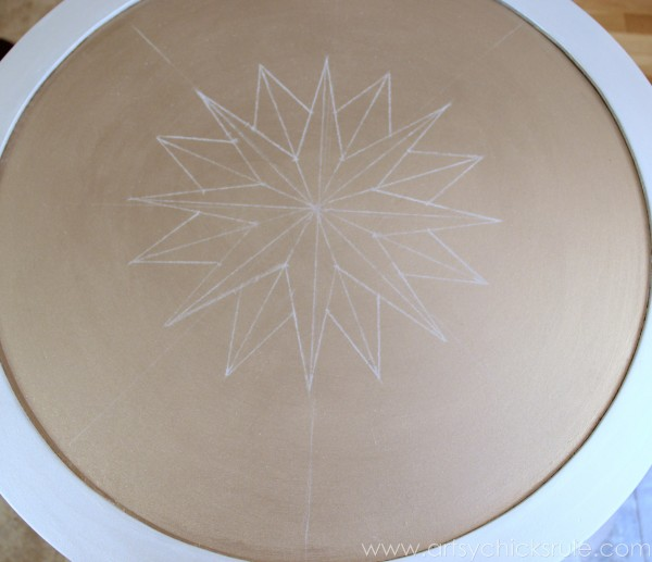Modern Masters Metallic Paint Makeover - Compass Rose Table - top compass rose 2- artsychicksrule.com #metallicpaint #furniture #compassrose #nautical #coastal