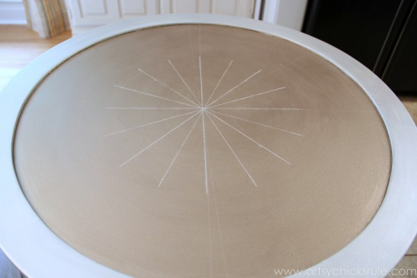 Modern Masters Metallic Paint Makeover - Compass Rose Table - top compass rose - artsychicksrule.com #metallicpaint #furniture #compassrose #nautical #coastal