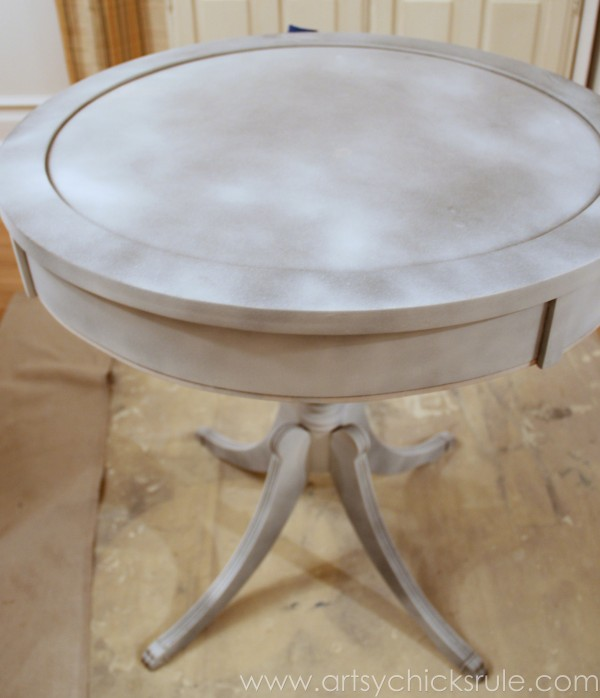 Modern Masters Metallic Paint Makeover - Compass Rose Table - top primer - artsychicksrule.com #metallicpaint #furniture #compassrose #nautical #coastal