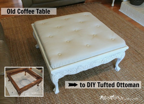 Inspirational Thrifty Coffee Table turned Ottoman top after artsychicksrule coffeetable ottoman
