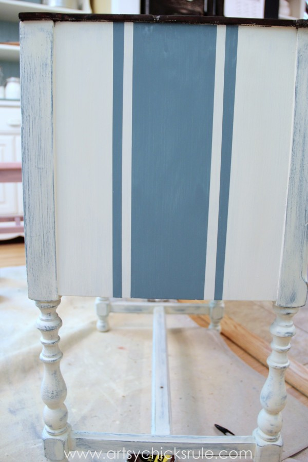 French Fabulous Cabinet Makeover - Grain Sack Stripes #chalkpaint -artsychicksrule.com