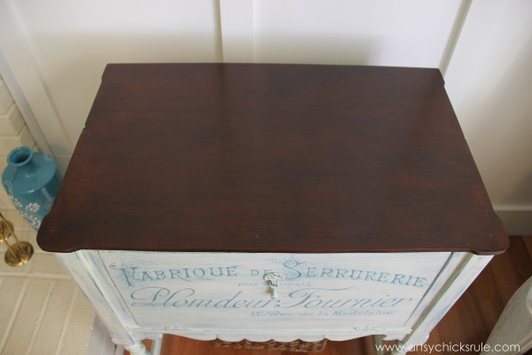 French Fabulous Cabinet Makeover - Stained Top #chalkpaint -artsychicksrule.com
