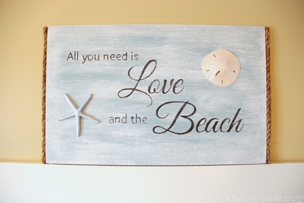Love & the Beach - DIY Sign Tutorial - Finished Sign - artsychicksrule.com #thrifty #homedecor #beach #sign #coastal #diy