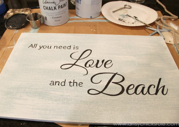 Love & the Beach - DIY Sign Tutorial - Lettering Hand Painted -artsychicksrule.com #thrifty #homedecor #beach #sign #coastal #diy