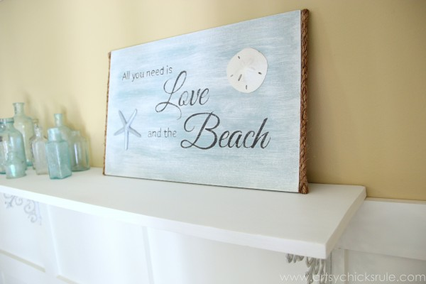 Love & the Beach - DIY Sign Tutorial - New DIY Shelf & Sign -artsychicksrule.com #thrifty #homedecor #beach #sign #coastal #diy