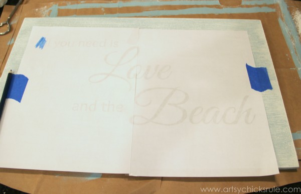 Love & the Beach - DIY Sign Tutorial - Transferring Lettering - artsychicksrule.com #thrifty #homedecor #beach #sign #coastal #diy