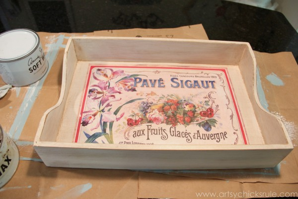 Old Letter Tray -to- Vintage French Fruit Tray {Thrifty DIY} - After First Coat of Glaze - artsychicksrule.com #vintage #graphicsfairy #diy #chalkpaint