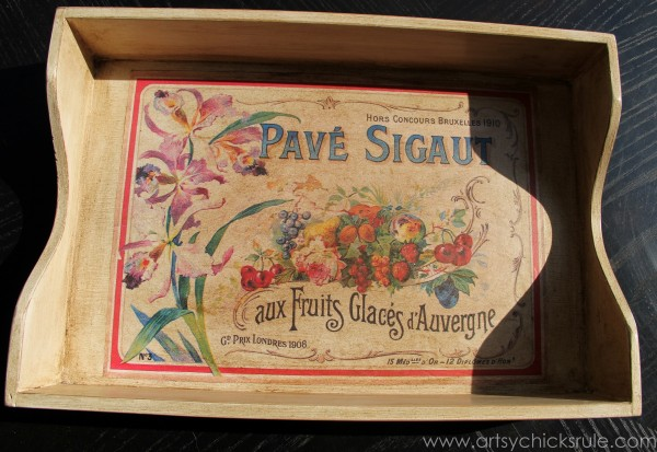 Old Letter Tray -to- Vintage French Fruit Tray {Thrifty DIY} - With Dark Wax -artsychicksrule.com #vintage #graphicsfairy #diy #chalkpaint