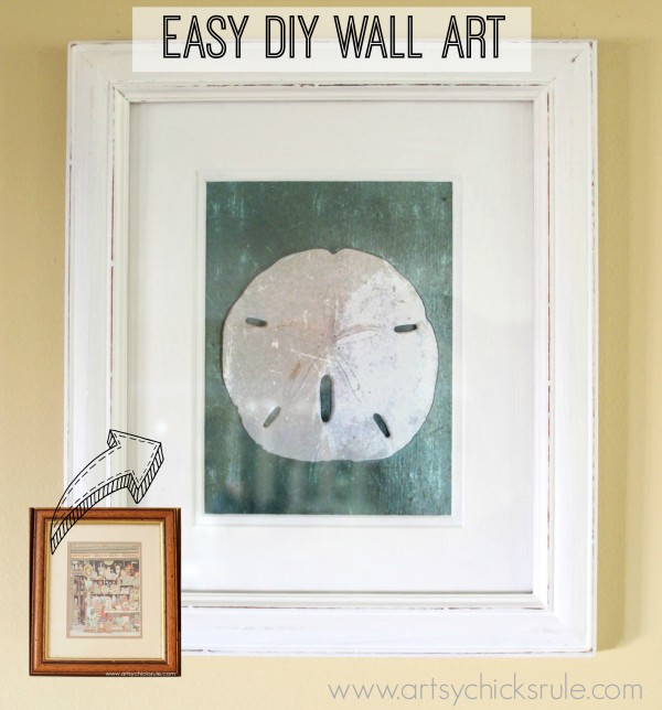 Simple & Thrifty DIY Coastal Wall Art - Before & After Wall Art -artsychicksrule.com #thrifty #coastal #wallart #diy #art