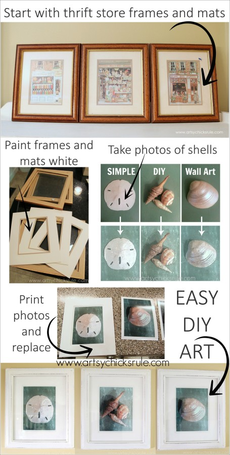 Simple & Thrifty DIY Coastal Wall Art - Super EASY and INEXPENSIVE - #thrifty #coastal #wallart #diy #art artsychicksrule.com